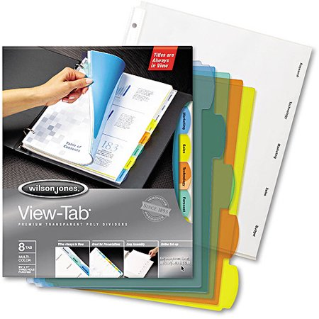 Wilson jones view tab index dividers round letter for Templates wilson jones 8 tabs