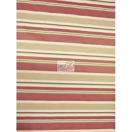 Oxford Stripe Outdoor Canvas Waterproof Fabric / Burgundy / Sold By The Yard