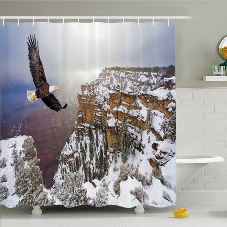 Ambesonne Wildlife, Aerial View of Bald Eagle Flying in Snowy Grand Canyon Rocky Arizona USA Shower Curtain Set