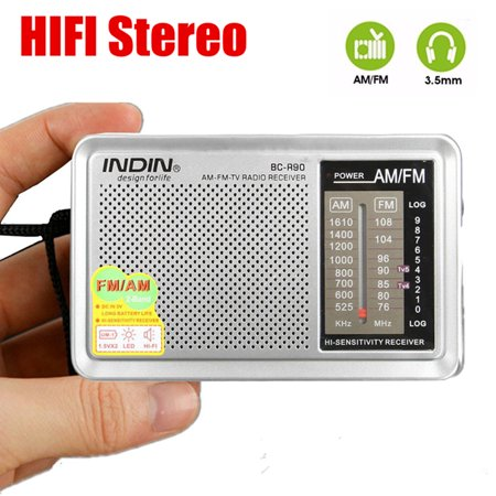 INDIN Portable Pocket Mini AM/FM Radio Receiver Bulit in HIFI Stereo Speaker For Hiking Camping Telescopic Antenna World Frequency W/ Outdoor Speaker Easy Tuning, Power