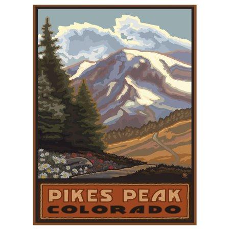 "Pikes Peak Colorado Springtime Mountains Travel Art Print Poster by Paul A. Lanquist (9"" x 12"")"