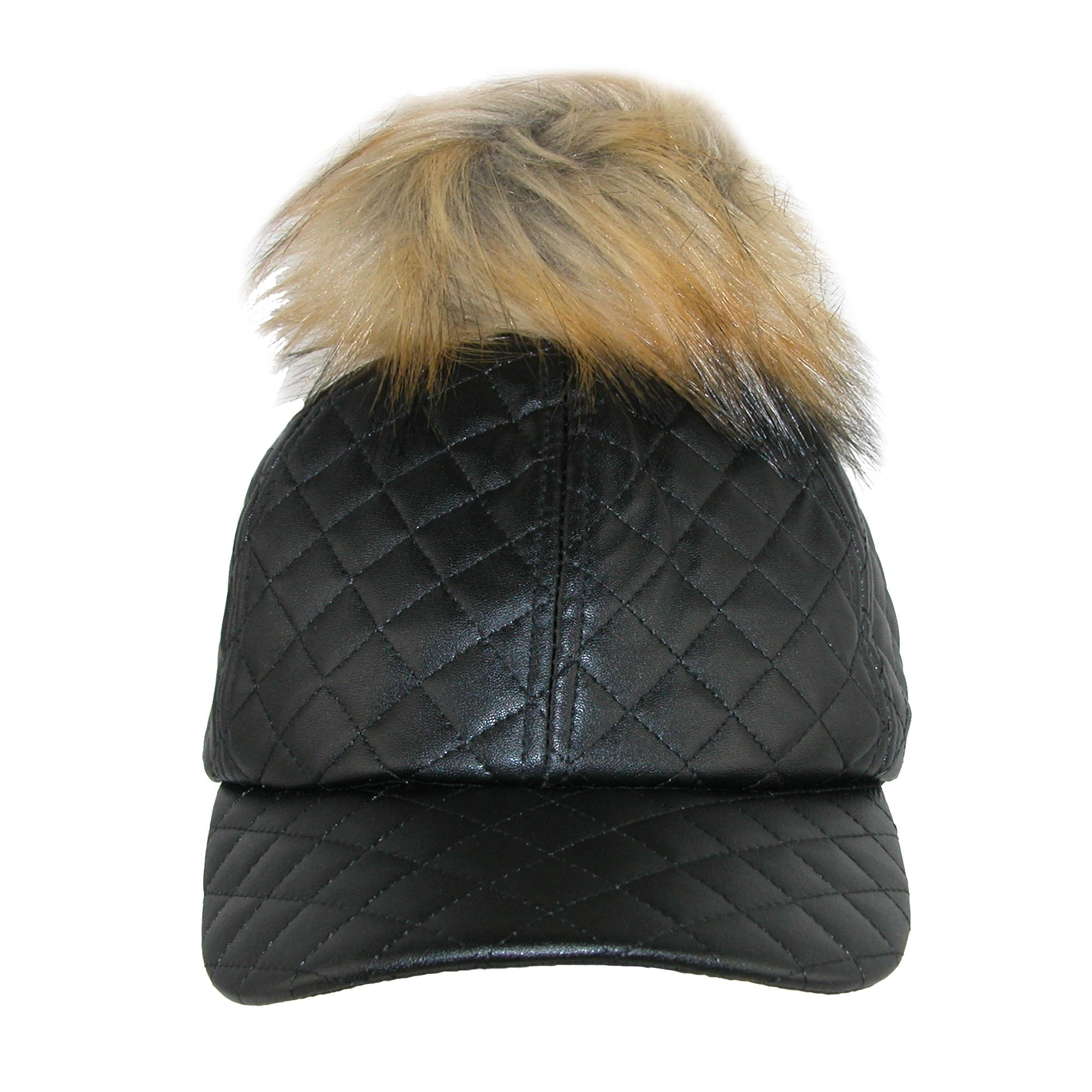 Pia Rossini Women's Quilted PU Cap with Faux Fur Detachable Pom Pom - image 4 of 4