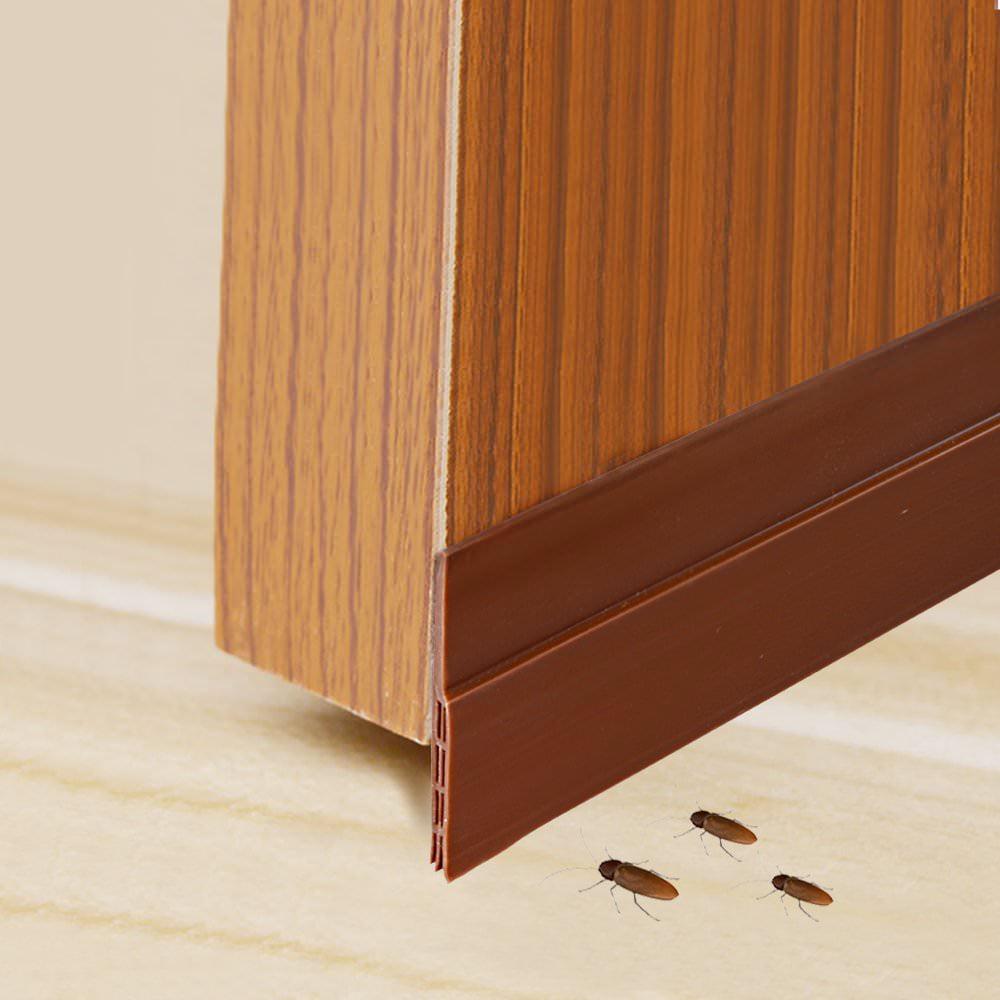 Under Door Sweep Bottom Seal Strip Brown IDEALCRAFT Door Draft Stopper Energy Efficient Door Weather Stripping,Suitable for Gap Under 1 Inch 2 Width x 39 Length