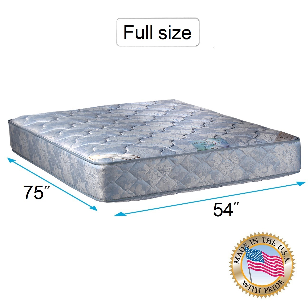 Chiro Premier Double-Sided Orthopedic (Blue Color) Full Mattress Only with Mattress Cover Protector Included - Fully Assembled, Innerspring coils, Long Lasting by Dream Solutions USA