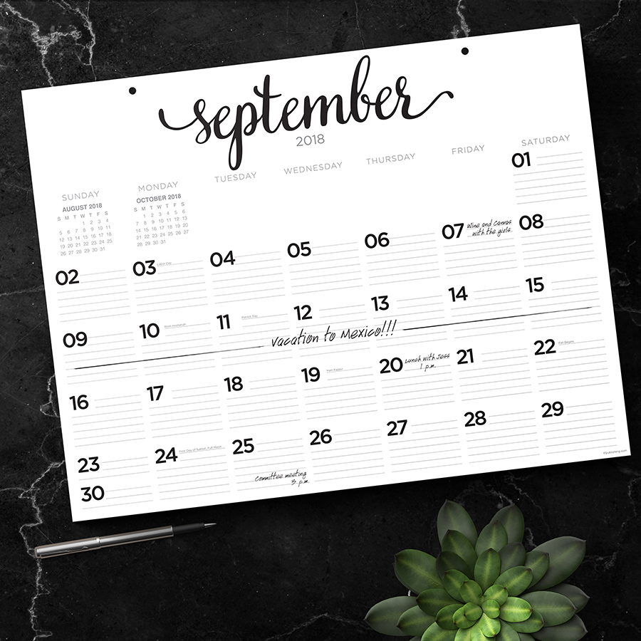 "2019 Black & White Script July 2018 - June 2019 Academic Year 22""x17"" Desk Pad Calendar"