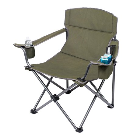 Internet's Best XL Padded Camping Folding Chair | Cooler Bag | Outdoor | Green | Sports | Insulated Cup Holder | Heavy Duty | Carrying Case | Beach | Extra Wide |