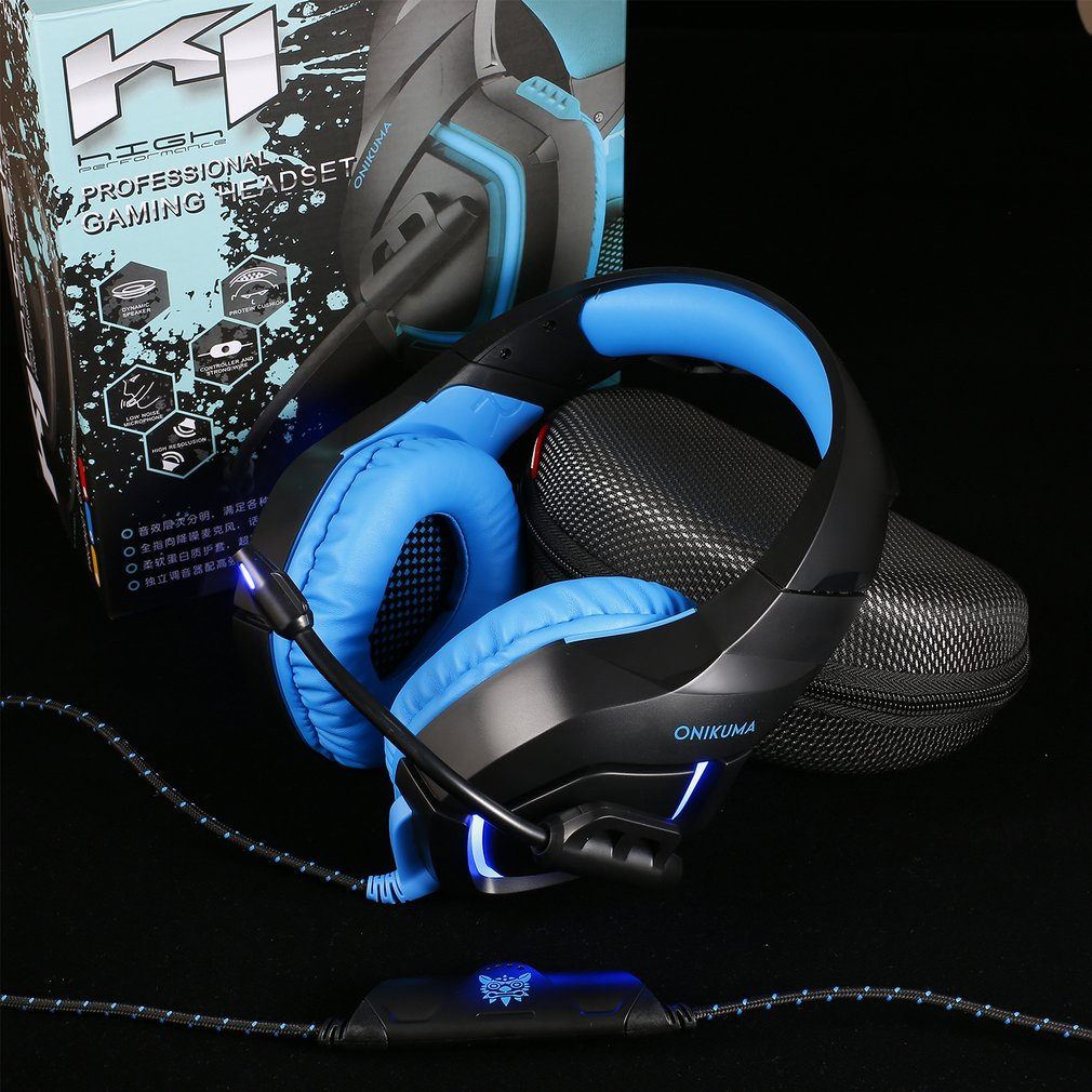 """Onikuma PC Gaming Headset 0.14"""" Stereo USB LED Headphones with Omnidirectional Microphone Volume Control for Computer lapto p"""