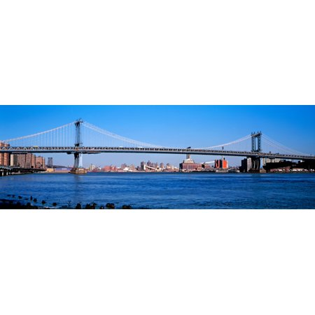 View of the Manhattan Bridge East River New York City New York State USA Canvas Art - Panoramic Images (6 x 18)