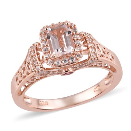 Promise Ring 925 Silver Vermeil Rose Gold Morganite Sapphire Morganite Pink Sapphire Ring