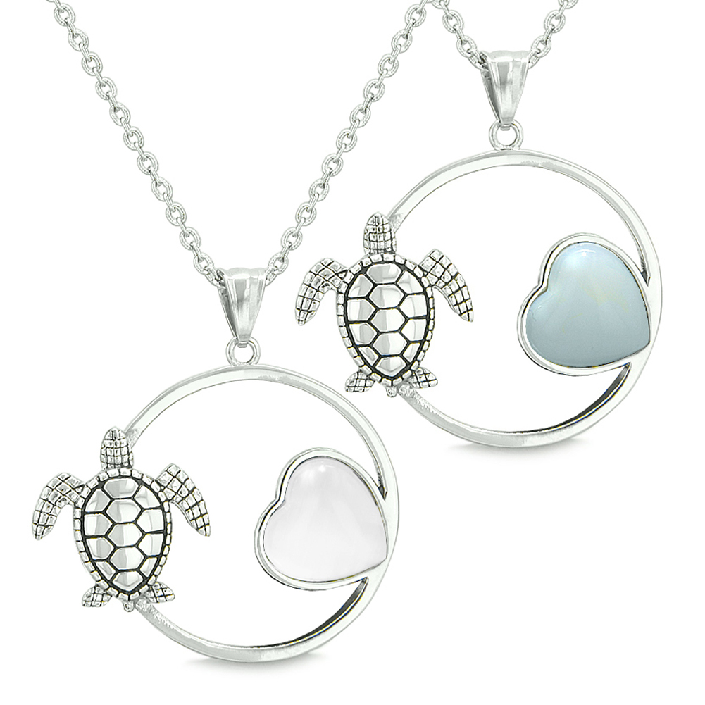 Amulets Cute Sea Turtles Love Couple or Best Friends Whit...