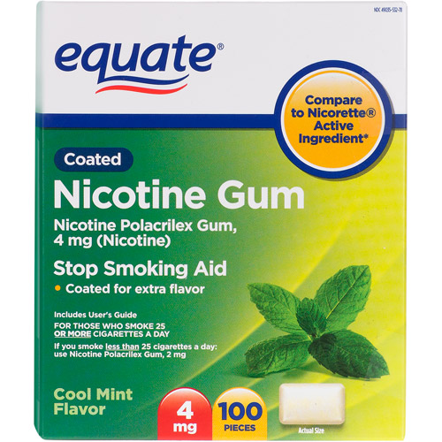 Equate Stop Smoking Aid Cool Mint Gum 4mg, 100 Pieces