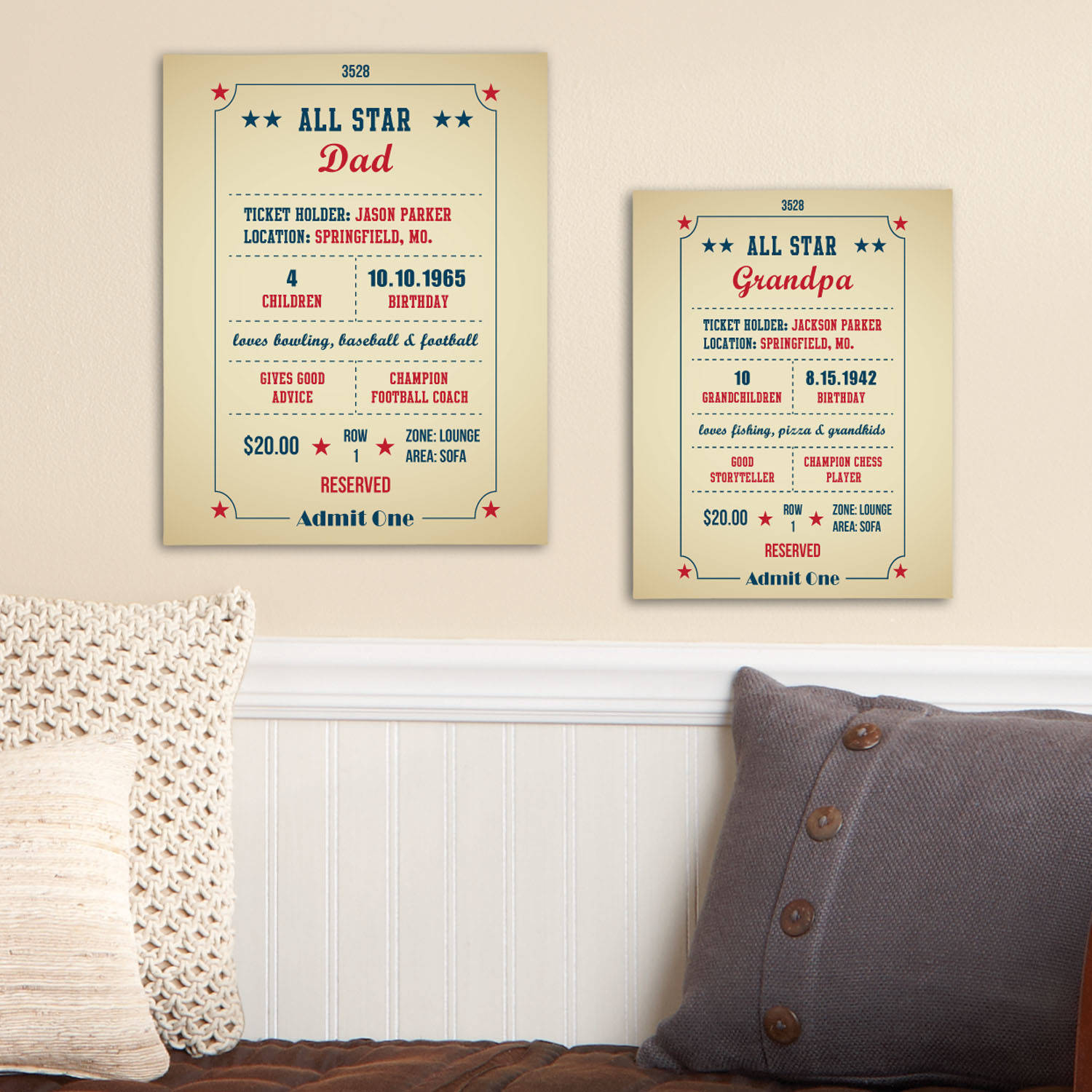 "Personalized All About You Ticket Stub Canvas, Available in 11"" x 14"" or 8"" x 10"""