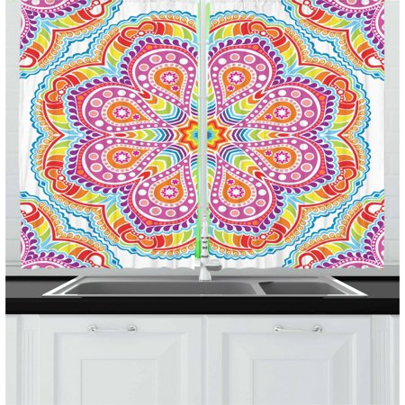 Rainbow Mandala Curtains 2 Panels Set, Colorful Oriental Mandala Motif with Stars Paisleys and Dots Kaleidoscope, Window Drapes for Living Room Bedroom, 55W X 39L Inches, Multicolor, by (Paisley Please Dot)