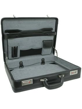 Expandable Leather Attache Briefcase Combination Locks 1YR Warranty