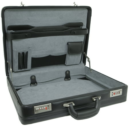Expandable Leather Attache Briefcase Combination Locks 1YR Warranty