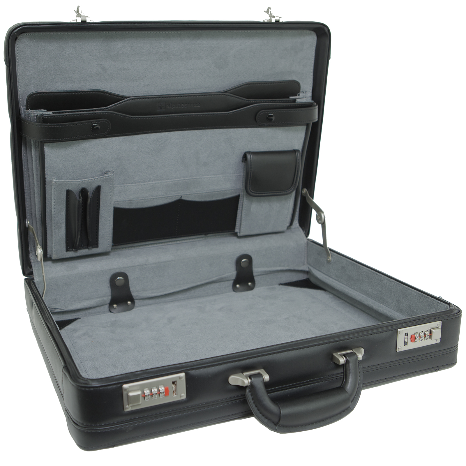 Alpine Swiss Expandable Leather Attache Briefcase Combination Locks 1YR Warranty Black One Size