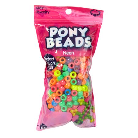 Kids Craft Plastic Pony Beads, Neon Mix