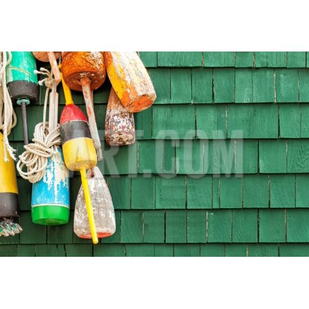 Lobster Buoys Hanging on a Green Wood Shingled Wall. Copy Space. Print Wall Art By cdrin