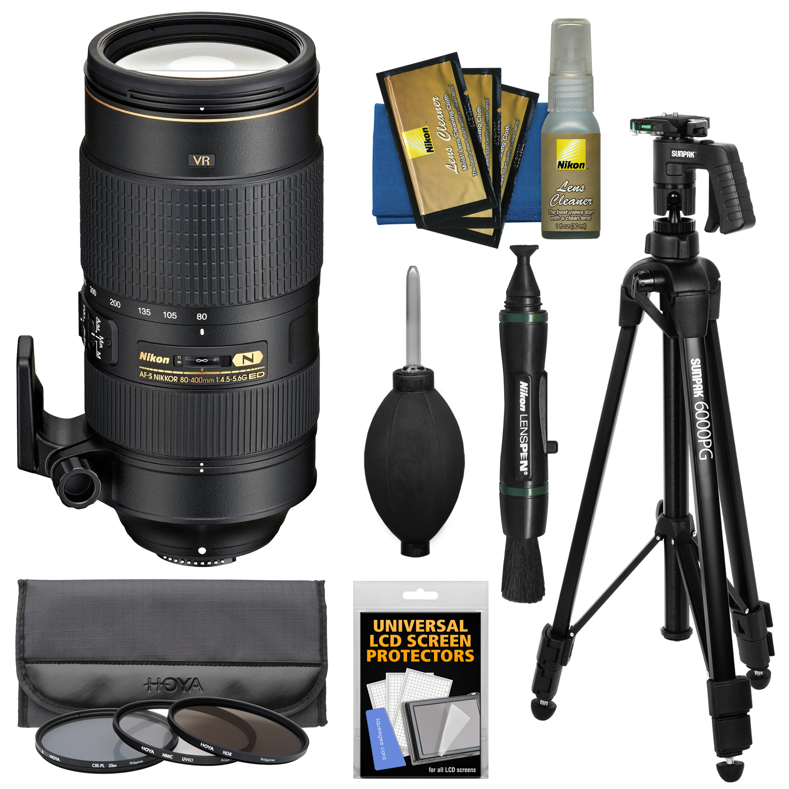 Nikon 80-400mm f/4.5-5.6G VR AF-S ED Nikkor-Zoom Lens with 3 Hoya UV/CPL/ND8 Filters + Pistol Grip Tripod + Kit for Digital SLR Cameras
