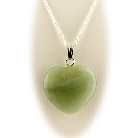 Green Serpentine Stone Heart Pendant Sterling Silver Cable Chain Necklace 18