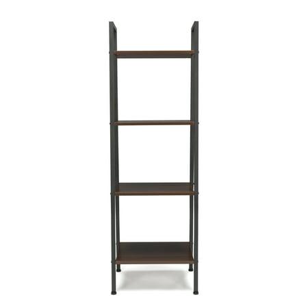 Essentials by OFM ESS-1045 4-Shelf Free Standing Ladder Bookshelf, Walnut with Gray Frame