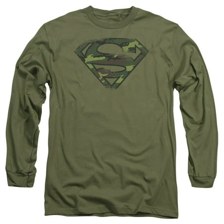 SUPERMAN/DISTRESSED CAMO SHIELD - L/S ADULT 18/1 - MILITARY GREEN - LG