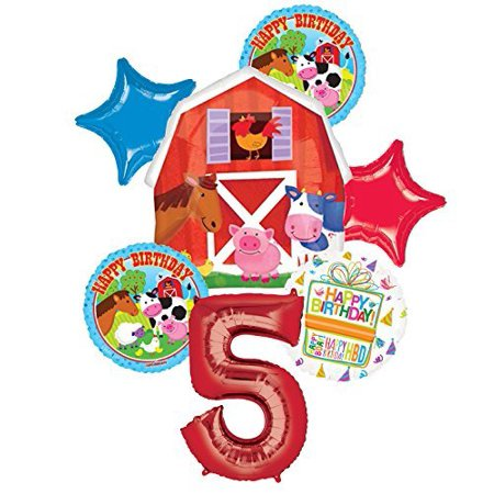 Farm Animal 5th Birthday Party Supplies and Barn Balloon Bouquet Decorations (Barn Party Supplies)