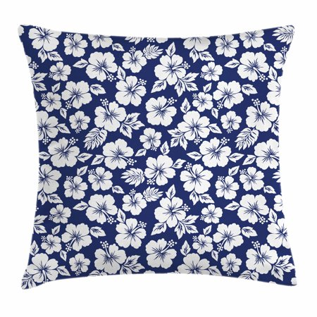 Hawaii Throw Pillow Cushion Cover, Hibiscus Silhouettes Flowering Mallow Family Plant Exotic Summer Season Foliage, Decorative Square Accent Pillow Case, 18 X 18 Inches, Navy Blue White, by Ambesonne