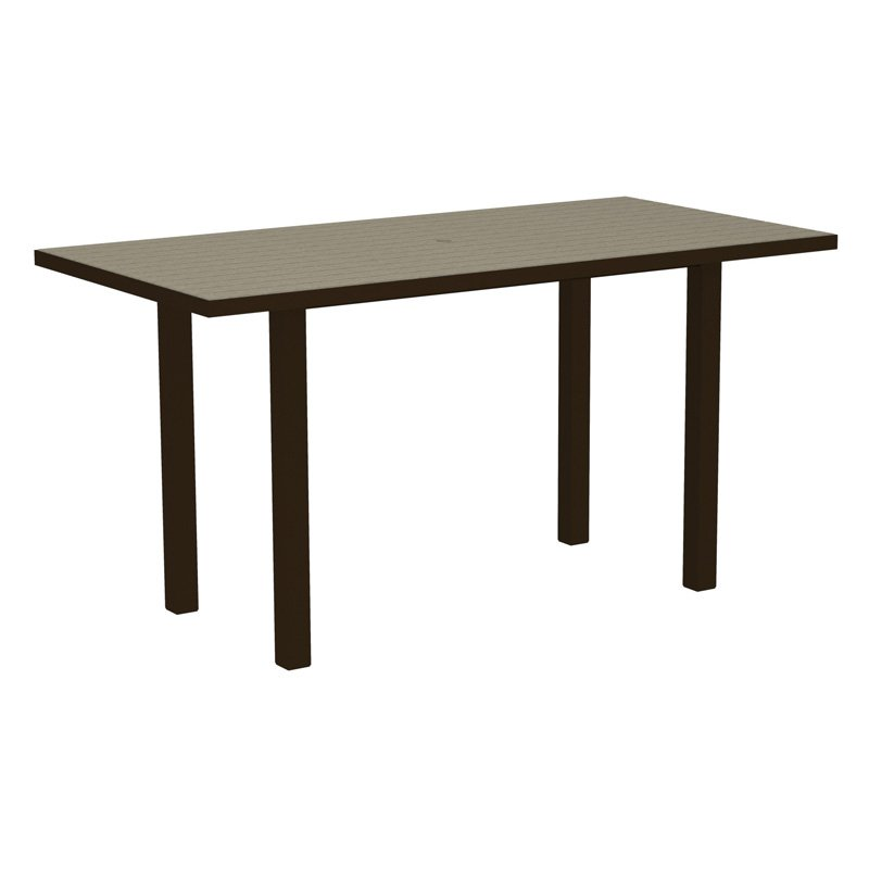 POLYWOOD® Euro 36 x 72 in. Counter Table with Aluminum Frame