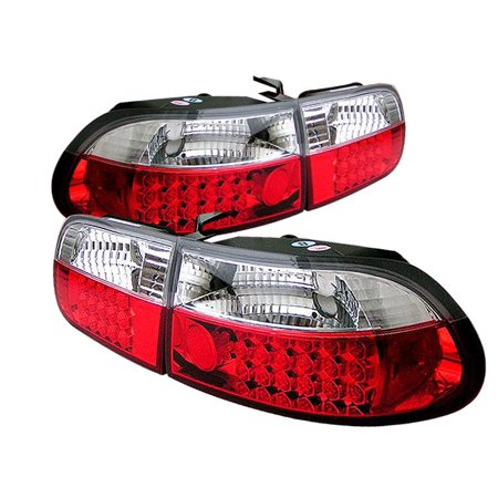 Spyder Honda Civic 92-95 3DR LED Tail Lights - Red Clear