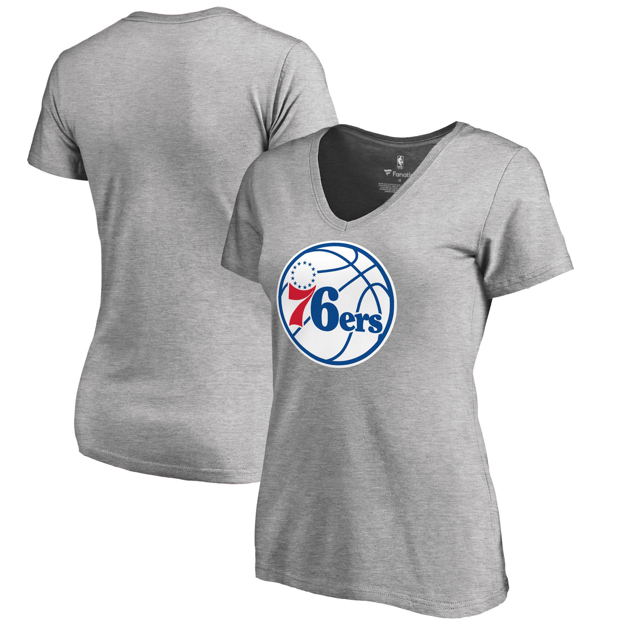 Philadelphia 76ers Fanatics Branded Women's Primary Logo V-Neck T-Shirt - Ash