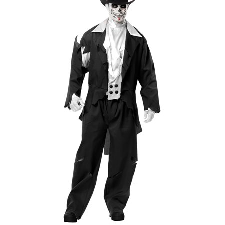 Adult Men's Black Zombie Prom Ghost Groom Costume