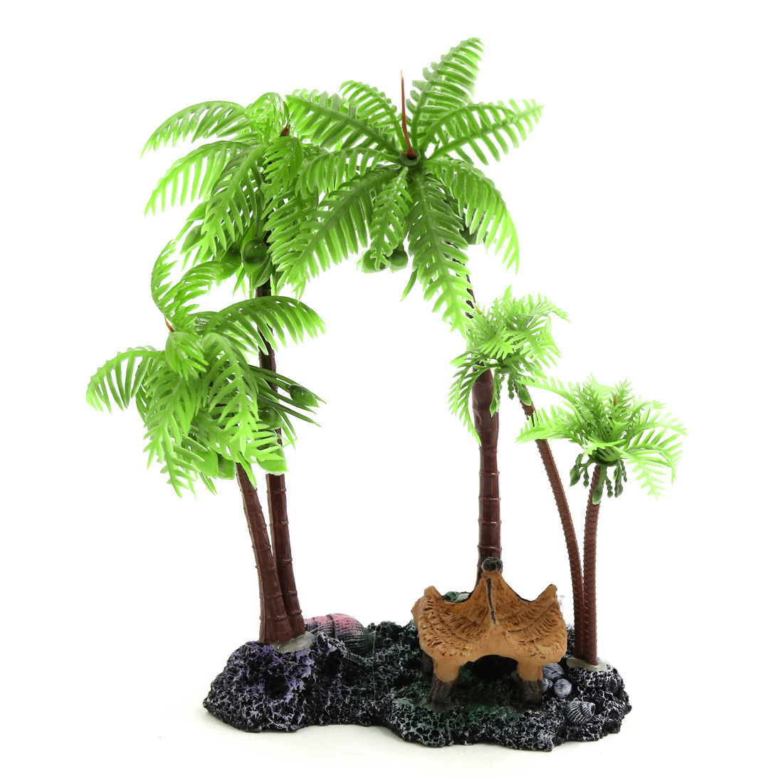 Green Plastic Coconut Tree Aquarium Aquascape Plant Decoration w/ Resin Base - image 4 of 4