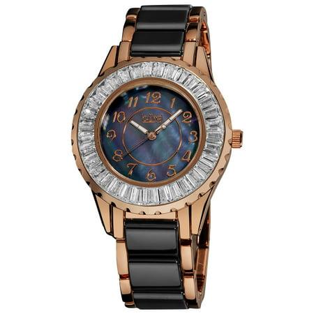 Women's Ceramic Black Bracelet Baguette Quartz Watch