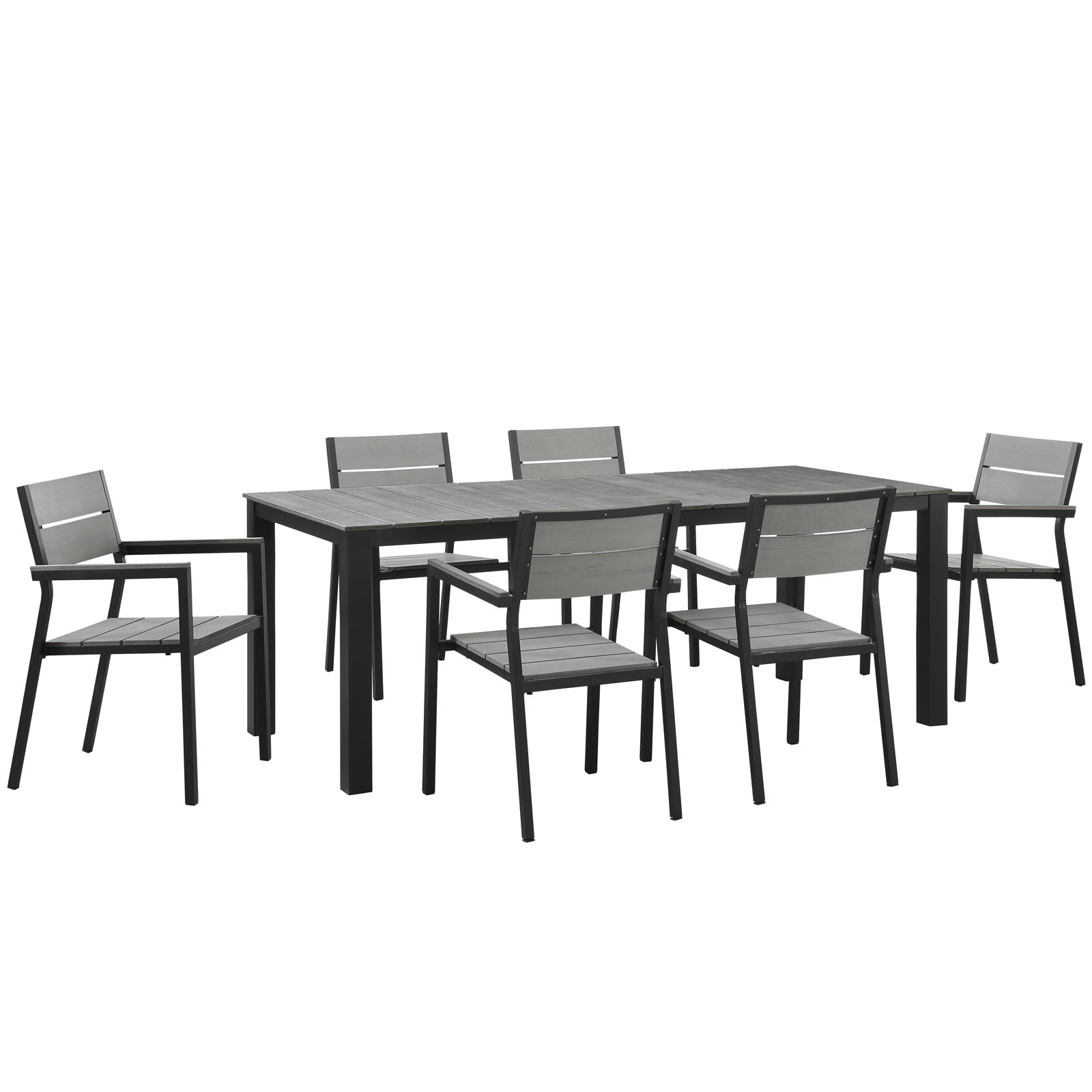 Modern Urban Contemporary 7 pcs Outdoor Patio Dining Room Set, Brown Grey Steel by