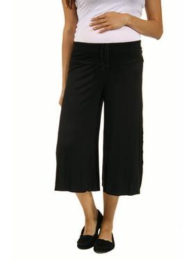 24seven Comfort Apparel Drawstring Maternity Gaucho Pants in Black Size S