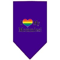 I heart my Mommies Screen Print Bandana Purple Small