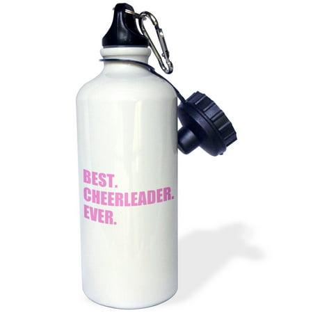 3dRose Pink Best Cheerleader Ever - greatest head or team cheerleading girl, Sports Water Bottle, 21oz