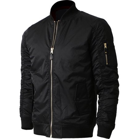 Mens MA-1 Bomber Padded Jacket Lightweight Active Biker Flight Outwear (Top Gun Bomber Jacket)