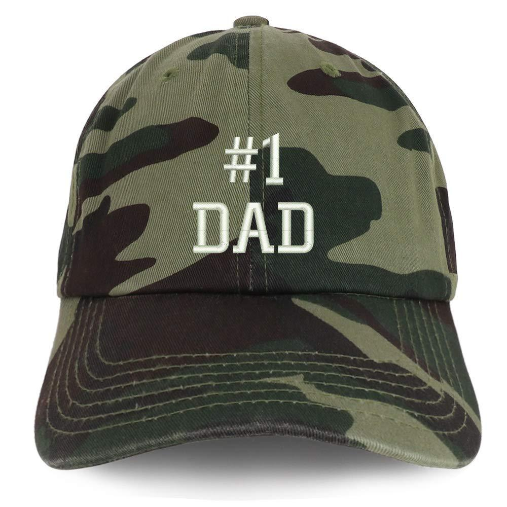 Trendy Apparel Shop Number 1 Dad Embroidered Brushed Cotton Dad Hat Cap/Black