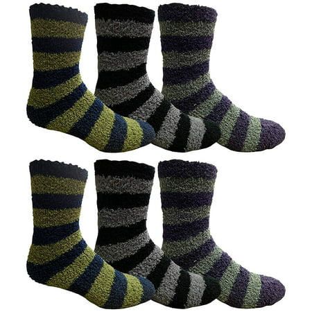 excell Mens Fuzzy Socks, Soft Warm Winter Slipper Plush Sock (Multicolor)