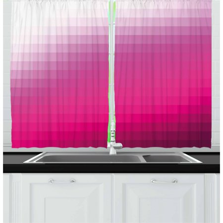 - Hot Pink Curtains 2 Panels Set, Modern Art Mosaic Tiles Gradually Ombre Inspired Squares Image, Window Drapes for Living Room Bedroom, 55W X 39L Inches, Hot Pink Dark Purple White, by Ambesonne