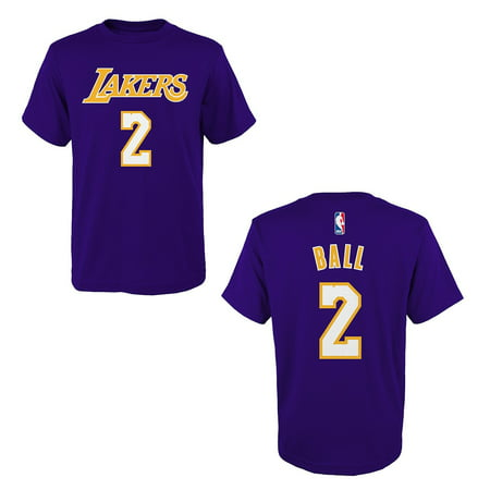 Los Angeles Lakers Lonzo Ball Purple Name And Number T Shirt