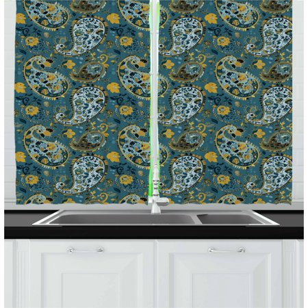 Paisley Curtains 2 Panels Set, Antique Curly Floral Motifs Old Fashioned Baroque Blossoms Oriental Cultural Design, Window Drapes for Living Room Bedroom, 55W X 39L Inches, Multicolor, by Ambesonne ()