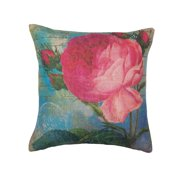Home Locomotion Pink Rose Print Pillow