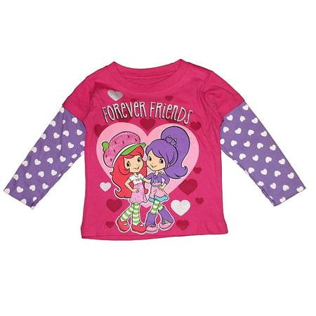 Strawberry Shortcake Little Girls' Toddler Long Sleeve Tee Shirt -