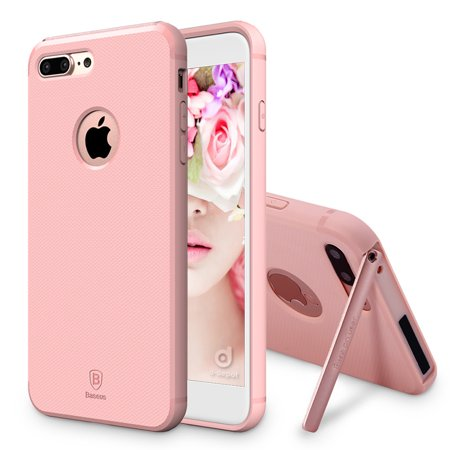 iPhone 7 Case, [Hermit Bracket] [Ultra Thin] [Hidden Stand] [Premium Lightweight] [Germany Bayer TPU] Case for Apple iPhone 7 - Pink