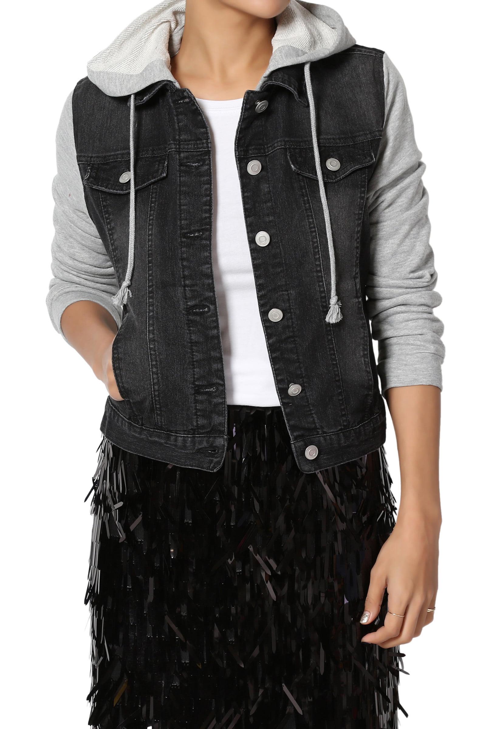 TheMogan Junior's Casual Contrast Grey Fleece Long Sleeve & Hoodie Denim Jacket