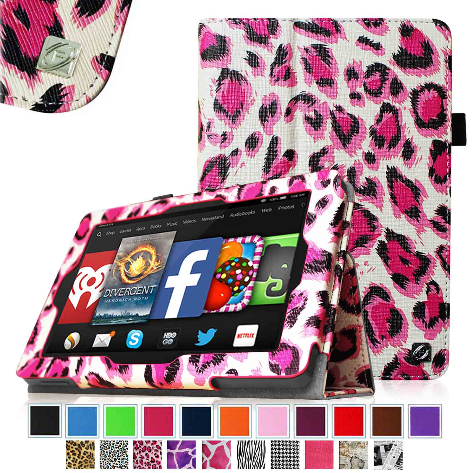 Fintie Kindle Fire HD 7 Tablet (2014 Oct Release) Case - Slim Fit Leather Stand Cover with Sleep/Wake, Leopard Magenta