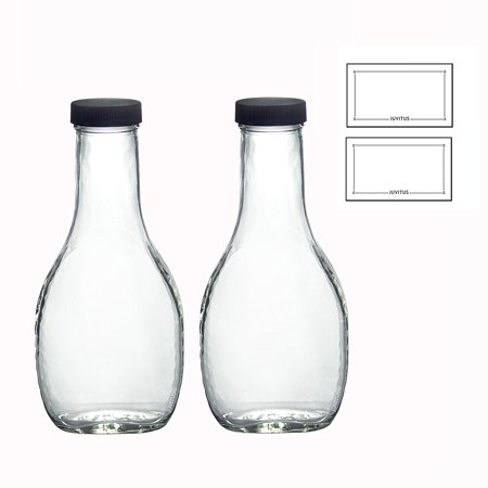 (8 oz Clear Glass Thick Wall Salad Dressing Bottle (2 Pack) + Labels)